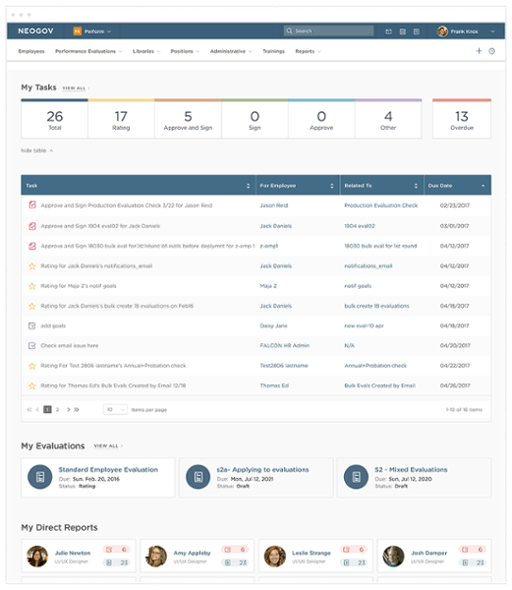 performance review and evaluation software screenshot