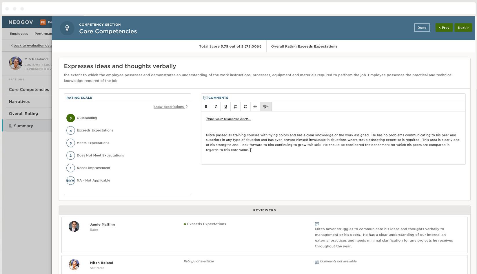 performance evaluation software screenshot