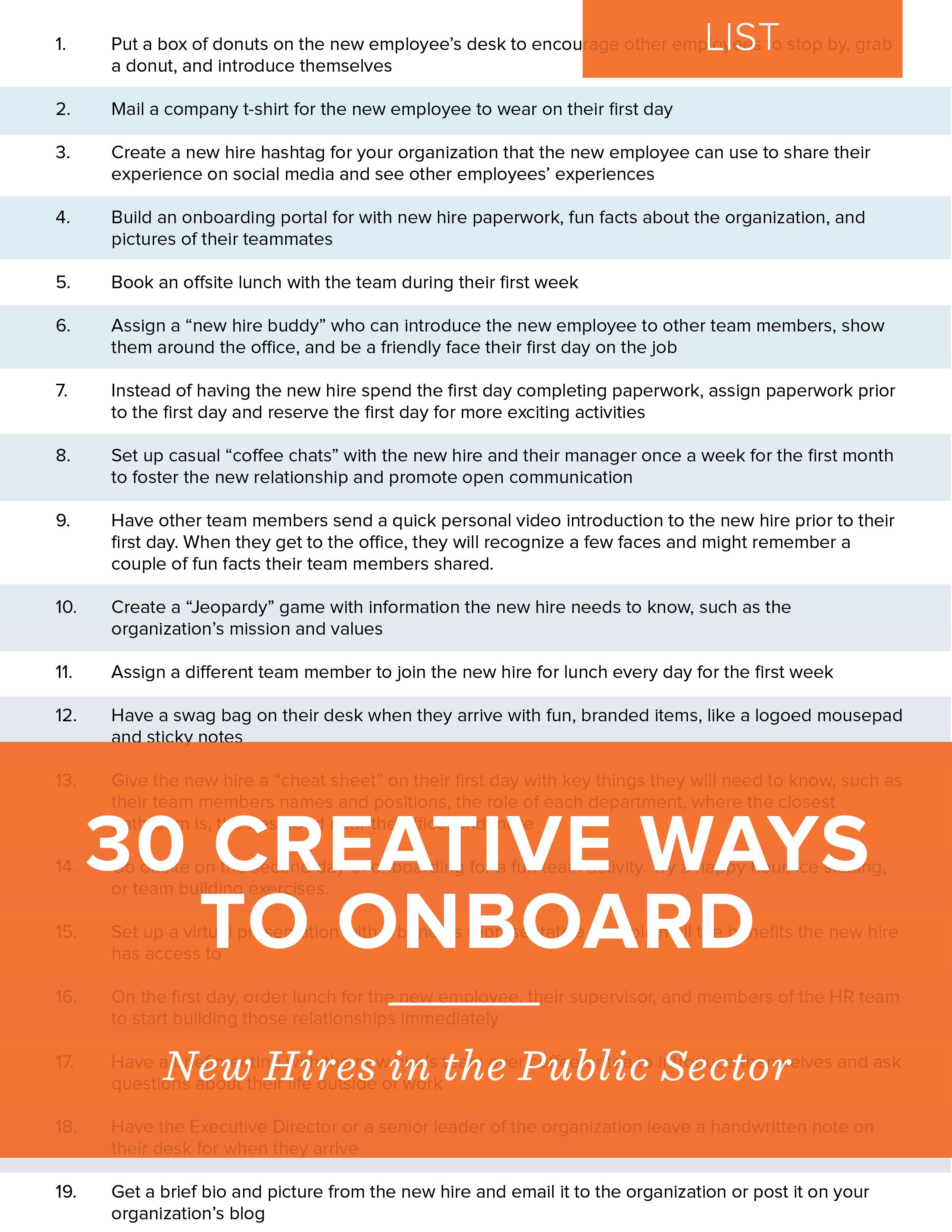 NEOGOV List - 30 Creative Ways to Onboard